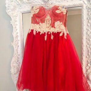 SALE PIXIE DREAM RED Lace PARTY Dress